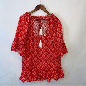 Mud pie red paisley ruffle dress